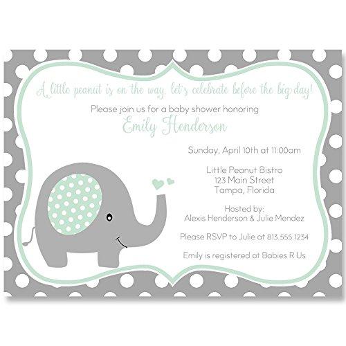 Baby Shower Invitations Polka Dot Elephant Mint White Grey Gray Set Of 10 Custom Printed Invites