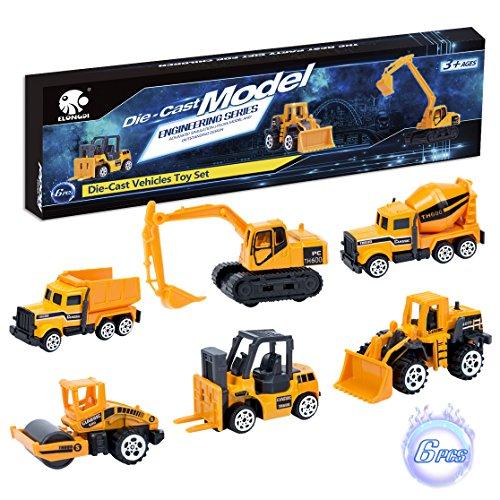 Elongdi Die Cast Construction Vehicle Toys Set 6 Mini Cars Gift