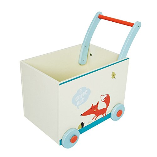 Labebe Baby Walker with Wheel, White Fox Printed Wooden Push Toy, 2