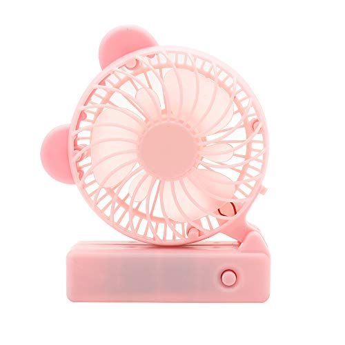 Color : Pink, Size : One Size Portable Personal USB Fan Mini Handheld Fan Personal Portable Desk Fan with USB Rechargeable Battery Operated Cooling for Office Room Outdoor Household Traveling
