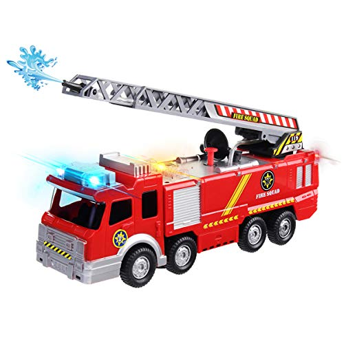 Conthfut Electric Fire Truck Toy Play Vehicle With Lights Sirens