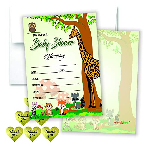 Woodland Baby Shower Invitations Girl Or Boy Set Of 50