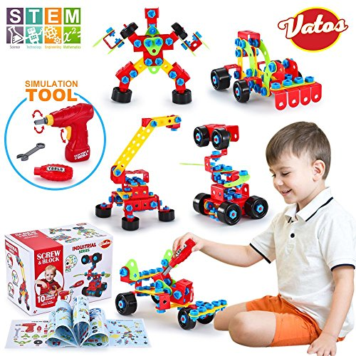 VATOS Building Toys STEM Screw Engineering 550 Piece Blocks For Kids Educational Birthday Gift Age6 7 8 9 Years Old Boys Girls