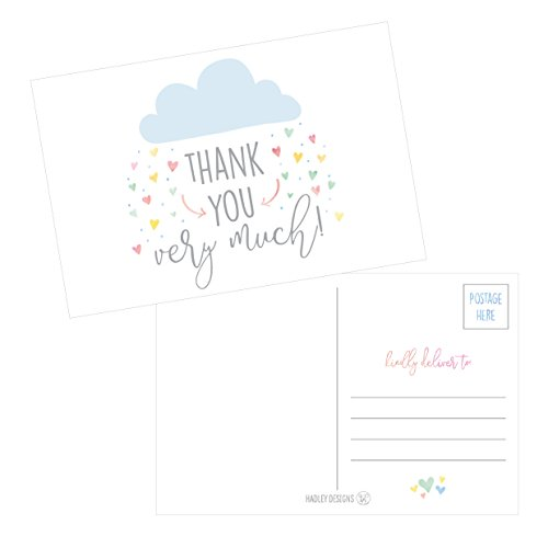 thank you postcards bulk cute modern baby shower sprinkle rainbow showered with love thank you note card stationery for wedding bridesmaid bridal