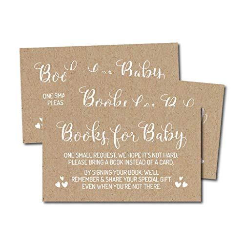 25 Rustic Kraft Books For Baby Request Insert Card Boy Or Girl