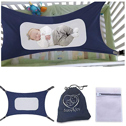 Heavy Duty /& Adjustable Straps Newborn Infant Nursery Bed by Baby/&Joy Mimics Mother/'s Womb Infant Safety Hammock Green Ultra Soft Fabric with Reinforced Net Baby Hammock for Crib