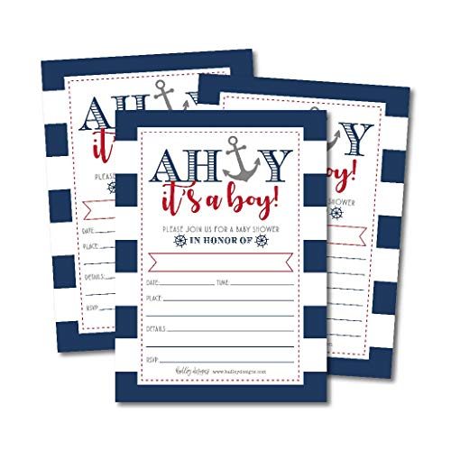 graphic about Nautical Baby Shower Invitations Printable named 25 Ahoy Its A Boy Nautical Boy or girl Shower Invites