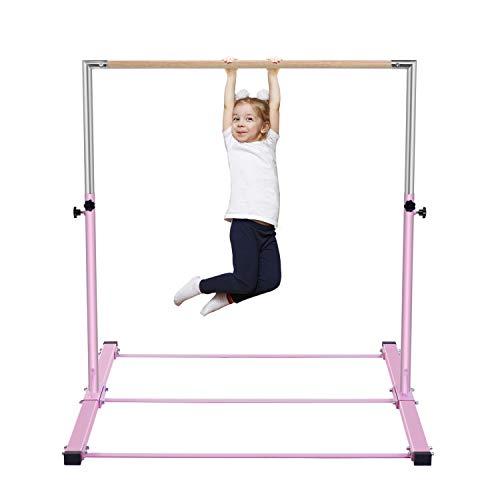 b4b509b632fa Safly Zone Gymnastics Junior Training Bar Kids  Expandable Gym Jr  Horizontal Kip Bar Gymnast Beginner Home Training Pink Color