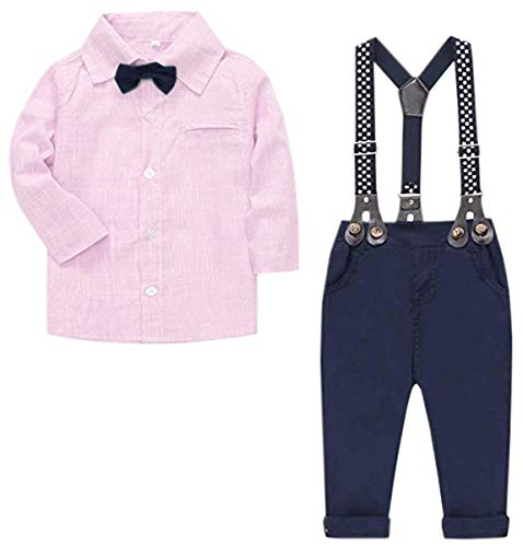 bb1daafab Baby Boys Clothes, Long Sleeves Dress Shirt Dress Shirt and Suspender Pants  Set Tuxedo Gentlemen Outfit with Bow Tie for Newborn Toddlers Baby Boys, ...