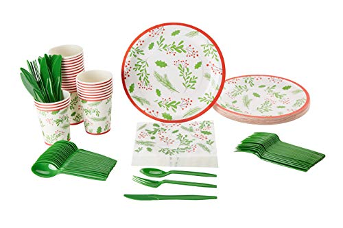 Christmas Paper Plates And Napkins.Christmas Disposable Dinnerware Set Serves 24 Festive