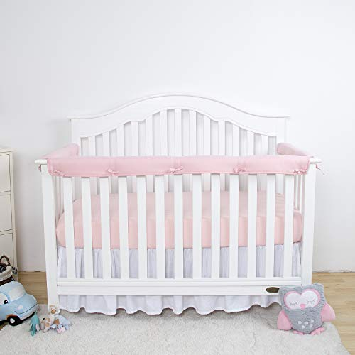Pink Safe Teething Guard Wrap for Standard Cribs TILLYOU 3-Piece Padded Baby Crib Rail Cover Protector Set from Chewing 100/% Silky Soft Microfiber Polyester Fits Side and Front Rails