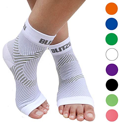 94aff9cd34 BLITZU Plantar Fasciitis Socks Arch Support, Foot Care Compression Sleeve,  Eases Swelling & Heel Spurs, Ankle Brace Support, Relieve Pain Fast White  S-M