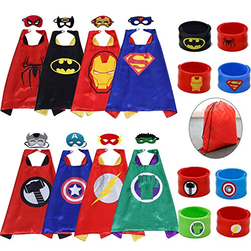 Dress up Costumes-Satin Cape with Felt Mask and Bracelet Superhero Capes for Kids