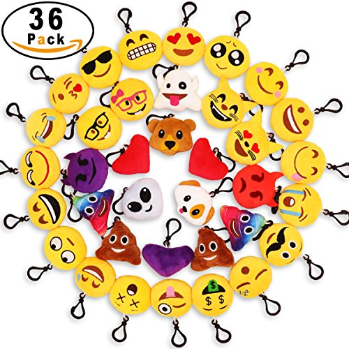 MelonBoat 36 Pack 2 Emoji Plush Keychain Mini Pillows Backpack Clips Emoticon Poop Birthday Party Favors Supplies Goodie Bag Stuffers