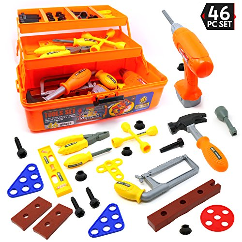 Saw Tri Level Case and Many Construction and Building Tools and Accessories Big Mo/'s Toys Big Mos Toys 46 Piece Toy Tool Box and Kids Tool Kit Includes Drill Hammer