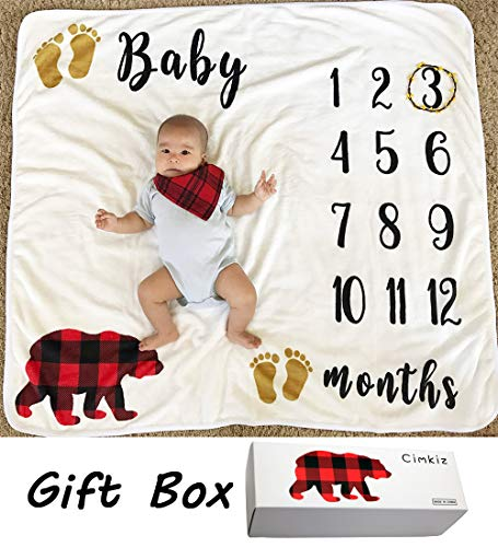Baby Monthly Milestone Blanket For Boy Girl Large Personalized