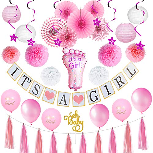 Its A Girl Party Decor Baby Shower Decorations For Girl Plush Pink and Gold