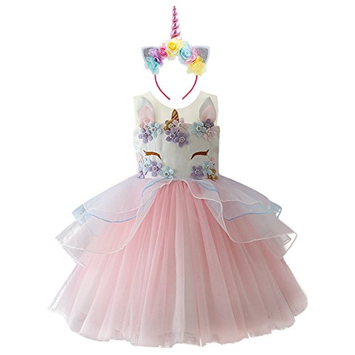 22c50d4cbb5b8 Girls Unicorn Tutu Dress Horn Headband Princess Fancy Dress up ...