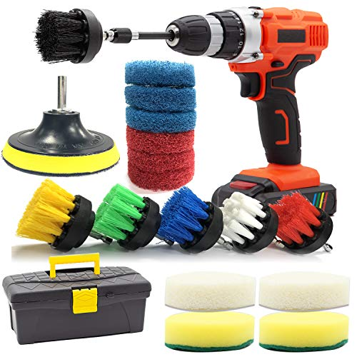 Carpet Cleaning Drill Brush and Scrub Pads GOH DODD 18 Pieces Power Scrubber Variety Cleaning Kit with Long Reach Attachment in Box for Bathroom Shower Scrubbing Grout Scrubbing and Tile Cleaning