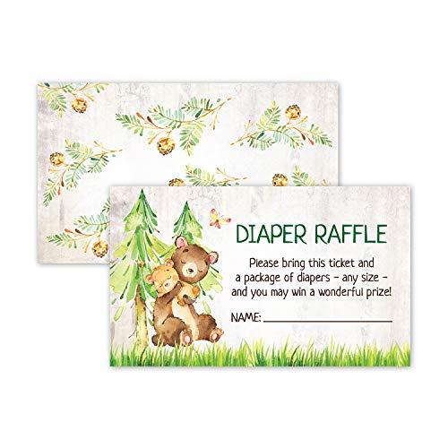 Boy Baby Shower Game 50 Woodland Diaper Raffle Tickets