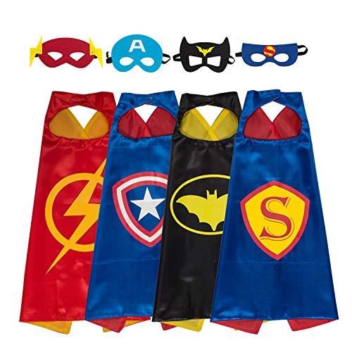 3X Kids Superhero Capes with Felt Masks Child Party Fancy Dress Up Costume Cloak