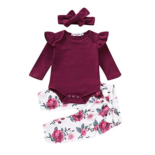 ea00a3d3fdcb37 3PCS Infant Toddler Baby Girl Clothes Ruffle Cotton Romper Long Sleeve  Bodysuit + Floral Pants + Headband Outfit Set(12-18 Months, Wine Red)