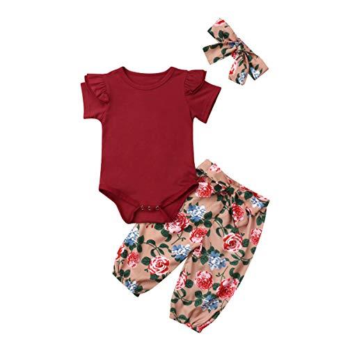 New 3PCS Outfit Set Newborn Toddler Baby Girl Romper Bodysuit Jumpsuit Floral Halen Pants Infant Clothes Set