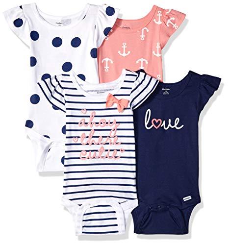 0cc35c337 Gerber Baby Girls 4-Pack Short-Sleeve Onesies Bodysuit, Navy Ahoy, 6-9  Months