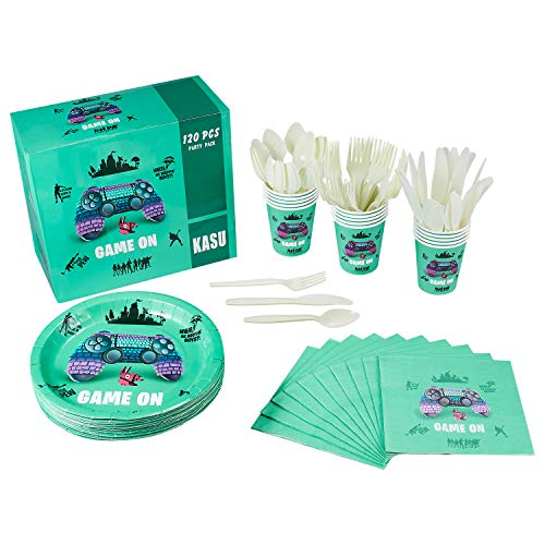 120 Pcs Video Game Party Supplies Serves 20 Includes Plates