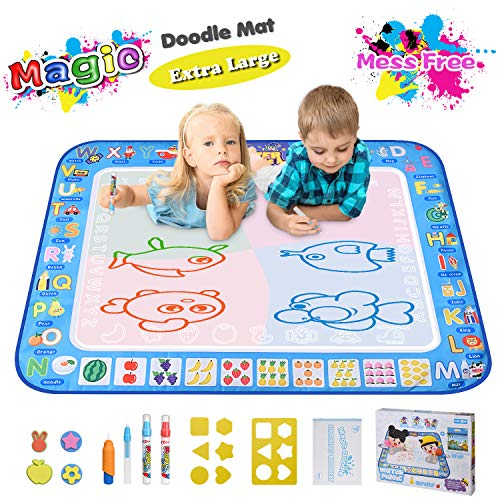 Large Magic Water Drawing Mat 38 5 X29 5 Learning Toys For 2 Year Olds Doodle Mat Painting Mat Toddler Girl Boy Toys Age 2 3 4 5 6 Gift Water Coloring Mat Kids Educational