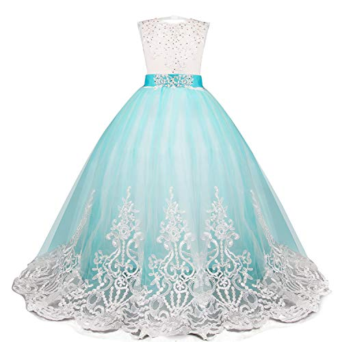 bf4bc5228e82e NNJXD Girls Princess Lilac Pageant Long Dress Kids Tulle Prom Ball Gowns  Size (130) 7-8 Years Blue