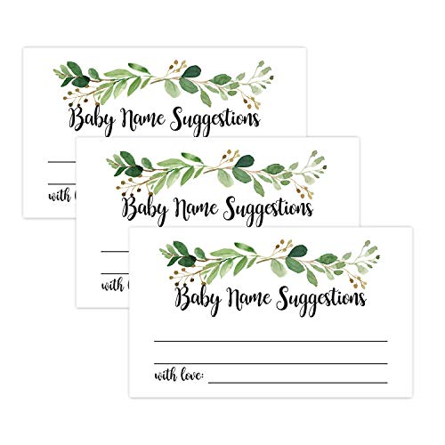 50 Greenery Baby Name Suggestions Cards, Printable Green