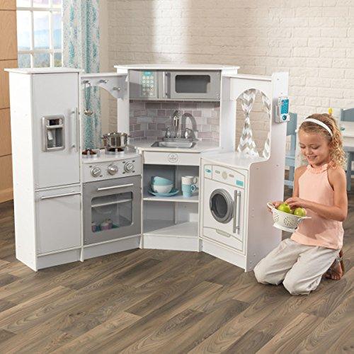 KidKraft Ultimate Corner Play Kitchen Set, White, exclusive ...