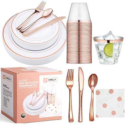 Elegant Disposable Plastic ROSE GOLD Cutlery for Weddings Parties and Occasions