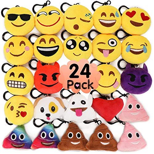 MelonBoat 24 Pack 2 Emoji Plush Keychain Mini Pillows Backpack Clips Emoticon Poop Birthday Party Favors Supplies Goodie Bag Stuffers