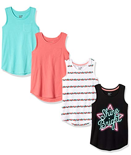 Spotted Zebra Girls Toddler /& Kids 4-Pack Sleeveless Tank Tops