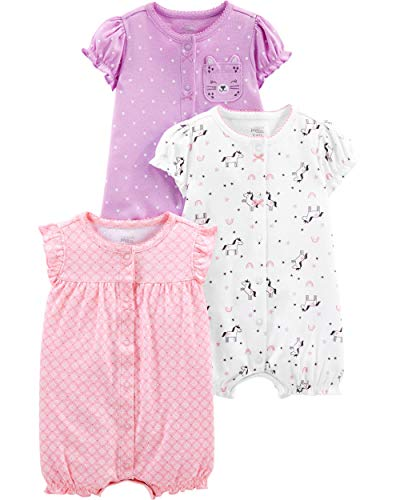 0528a772c Simple Joys by Carter's Girls' 3-Pack Snap-up Rompers, owl/Unicorn/Kitty  6-9 Months