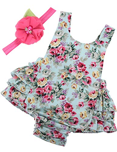 0e3a93199 PrinceSasa Baby Girl Clothes Mint Green Cloth Floral Ruffles Summer Cake  Smash Romper and Headband for Newborn Gifts,A5,0-6 Months(Size S)