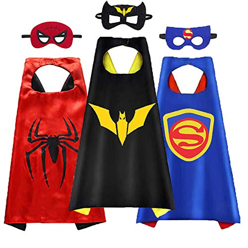 Kids Children Mask and Cape Costume Fun Party Boy Girl Costumes Hero Play Games