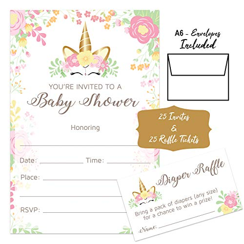 Unicorn Baby Shower Invitations Girl With Envelopes And Diaper