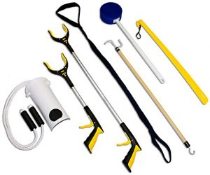 ee97b87040 RMS 7-Piece Hip Knee Replacement Kit with Leg Lifter, 19 and 32 inch  Rotating Reacher Grabber, Long Handle Shoe Horn, Sock Aid, Dressing Stick,  ...