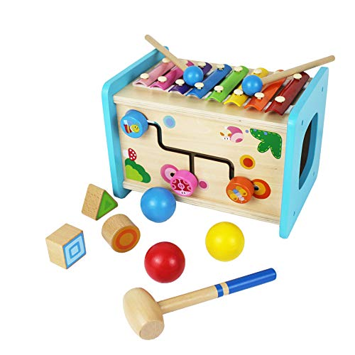 Shumee Natural Wood Musical Activity Truck Shape Sorter and Pull Along Truck All-in-One Xylophone Ages 2+