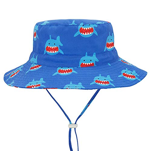 1e39f9fb Durio Gift for Baby Toddler Summer Baby Gifts Beach Sun Hat UPF 50+ Baby Hat  Kids Toddler Boy Hat A Blue Shark 18.9″(48cm)/6-12 Months