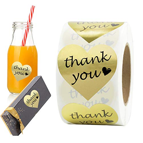 Thank You Stickers Gold Foil Labels Roll, 1 5″ Heart Shape