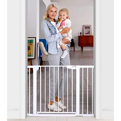Easy Open Extra Tall Thru Gate with Pet... Cumbor Auto Close Safety Baby Gate