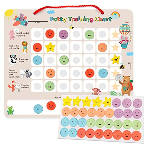 Putska Potty Training Magnetic Reward Chart For Toddlers Potty Chart With Multicolored Emoji Star Stickers Motivational Toilet Training For Boys Girls Animal Theme The Frumcare Store