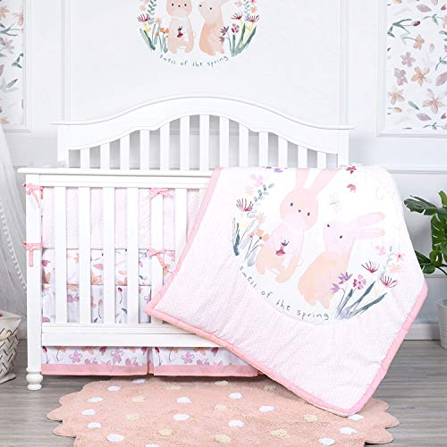 4Pcs Baby Girl Bedding Set Rabbits Crib Nursery Quilt Bumper Sheet Crib Skirt