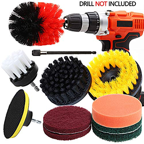 car care wall tile clean 5 inch drill brush combo Soft, Medium, Heavy 3-Pack