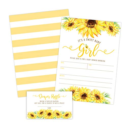 Sunflower Girl Baby Shower Invitations Yellow Floral Baby Shower
