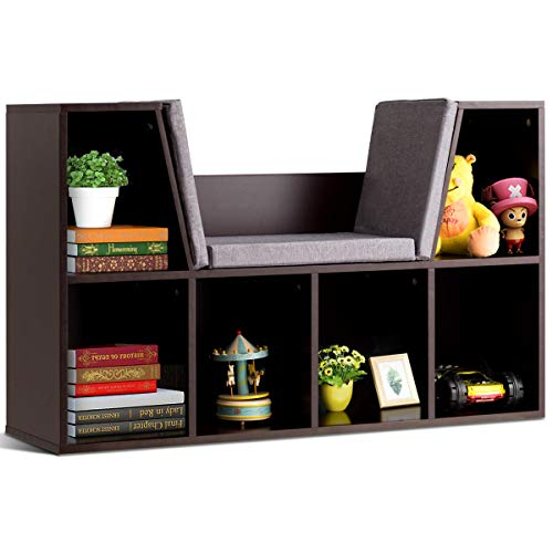 Costzon 6-Cubby Kids Bookcase w/Cushioned Reading Nook ...